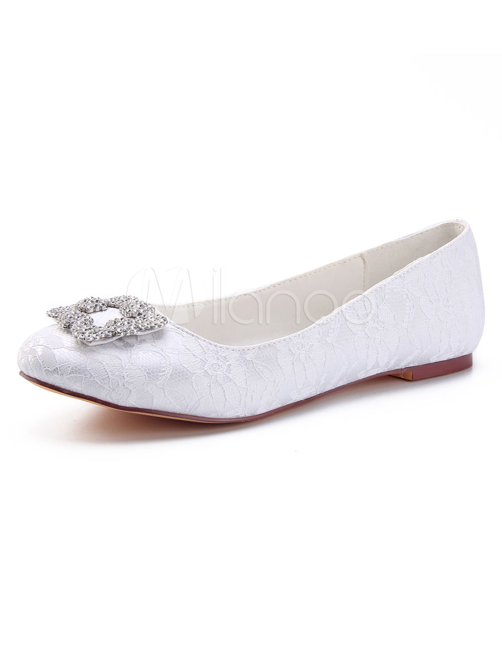 81b58afb5 ... Ivory Wedding Flats Lace Round Toe Rhinestones Slip On Mother Shoes-No.5.  1. 40%OFF. Color:White
