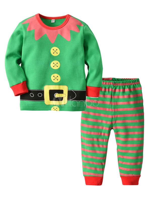 Kids Christmas Pajamas.Kids Christmas Pajamas Holiday Home Green Striped Top And Pants 2 Piece Set Halloween