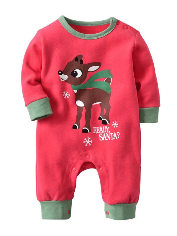 officiel de vente chaude modèle unique énorme réduction Pyjama de noël bébé rouge coton enfants barboteuse Halloween