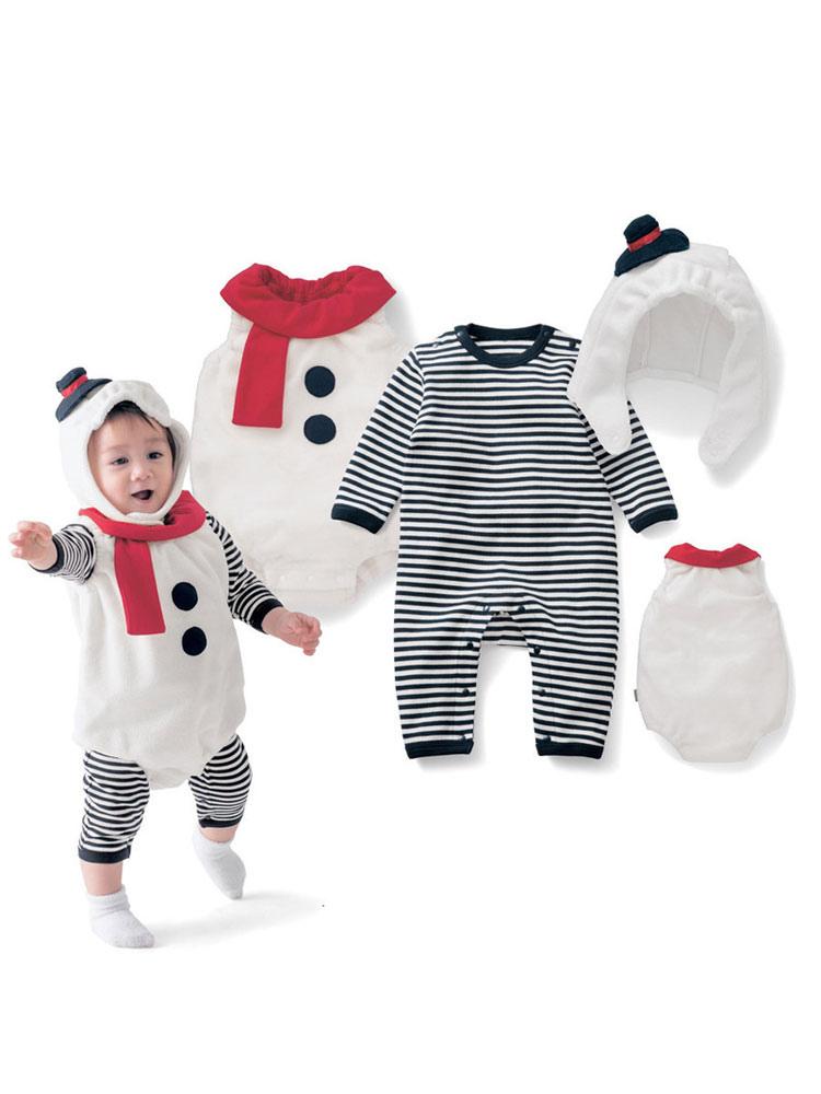 2e281891d1 Baby Christmas Pijamas Trajes de rayas muñeco de nieve para niños mamelucos  3 piezas-No ...