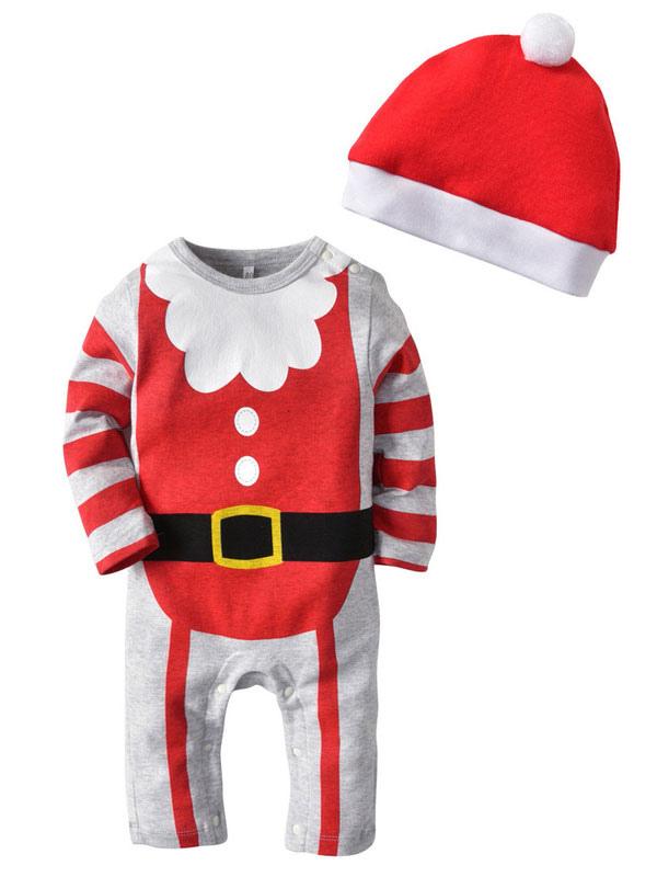 85db8d8d12 Baby Pigiama Natale Outfit Striped Babbo Natale Bambini pagliaccetti con  cappello Halloween-No.1 ...