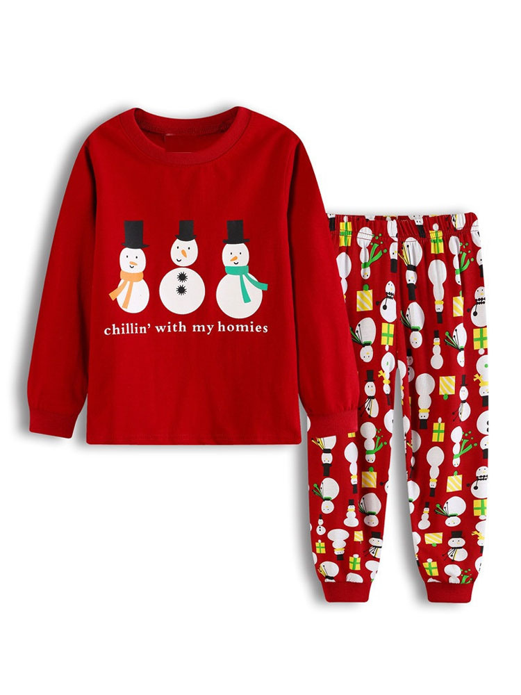 Kids Christmas Pajamas.Kids Christmas Pajamas Outfit Red Snowman Pants And Top Set 2 Piece Halloween
