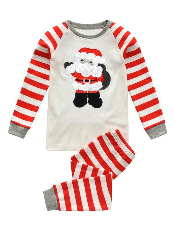 9cf319100d1c0 Enfants Noël pyjamas vacances filles garçons père noël rayé haut et  pantalon ensemble-No.
