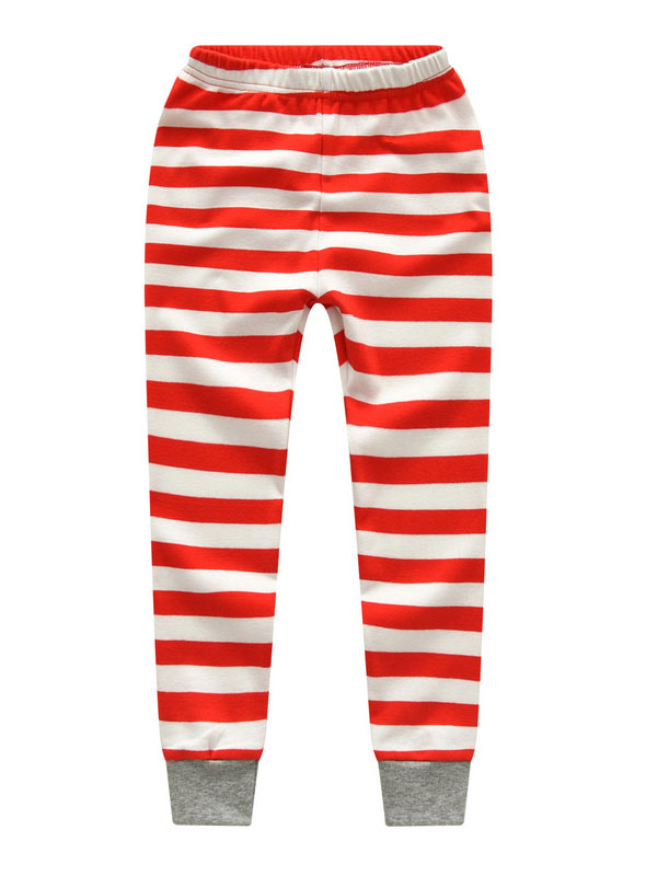 883edfe8d2a6dd Kids Christmas Pajamas Holiday Girls Boys Santa Claus Striped Top And Pants  Set-No.
