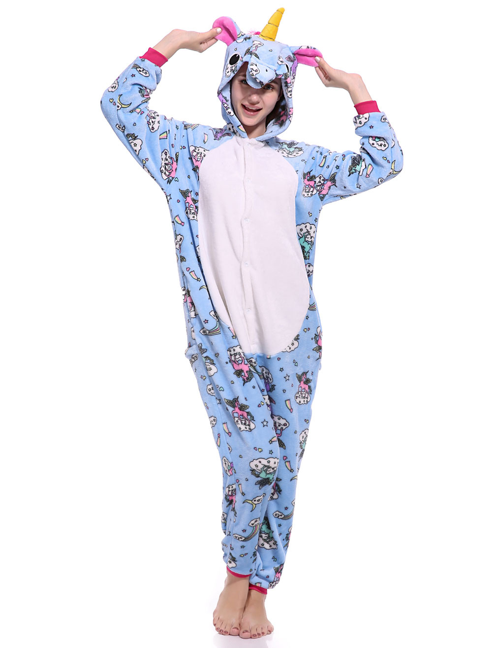 4360cf9b3 ... Unicorn Onesie Kigurumi Pajamas Pegasus Flannel Unisex Adults Jumpsuits-No.7.  12. 40%OFF. Color:Light Sky Blue