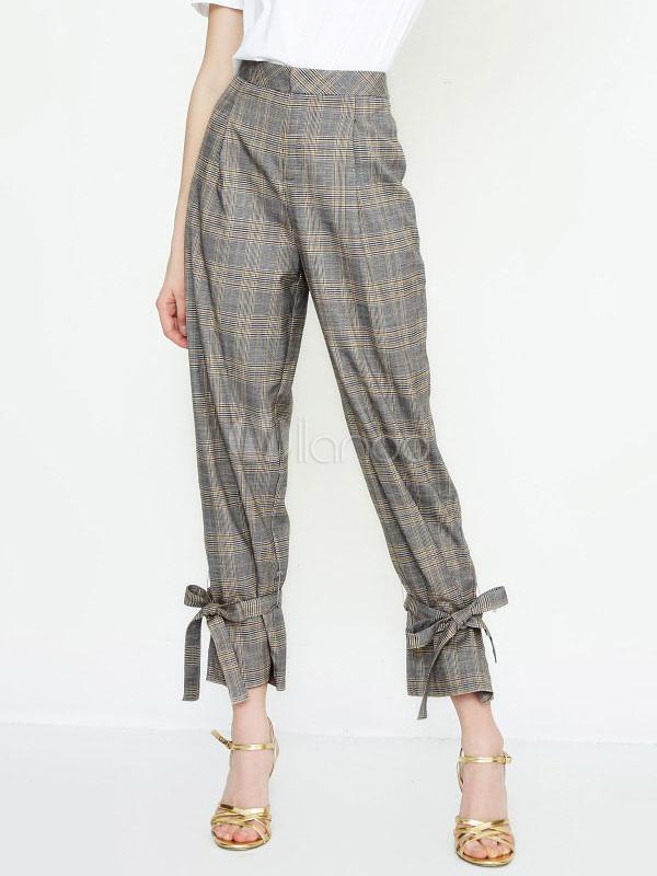 innovatives Design Rabatt zum Verkauf Sonderrabatt Graue karierte Hose Frauen mit hoher Taille ausgestellte Beinhose