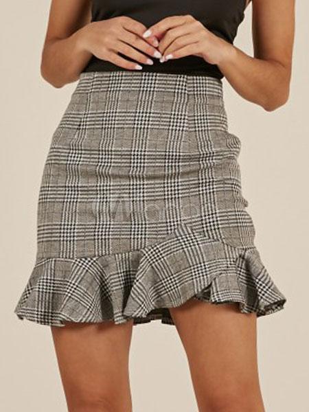 2bc472aa6753bc Jupe à carreaux grise Mini jupe à taille haute