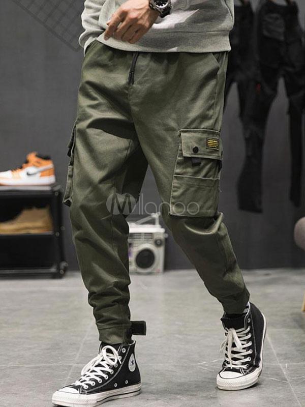 ordre vaste gamme de grandes variétés Pantalon cargo pour homme Hunter Vert avec poche en coton et jambe lâche