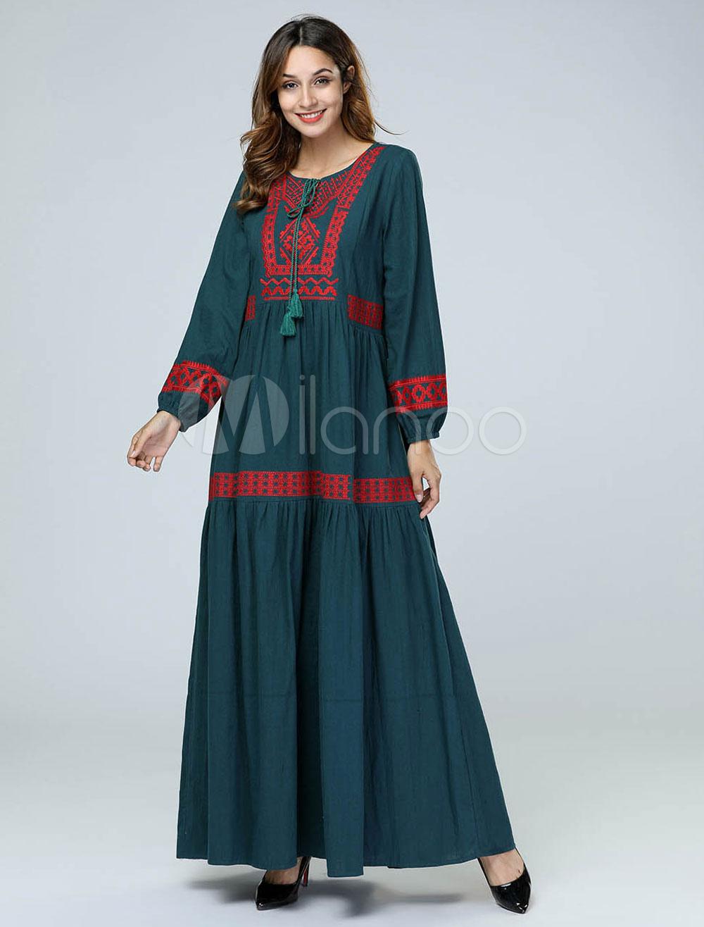 c9837b1537 ... Oversized Abaya Dress Long Sleeve Round Neck Ethnic Embroidered Tassels Maxi  Dress-No.5. 1. 35%OFF. Color Dark Green