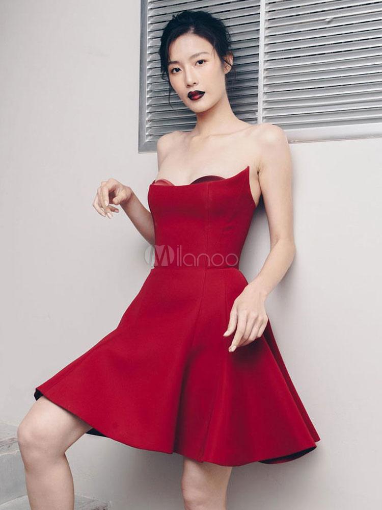 437a1d07717b Red Party Dress Strapless Mini Dress Sexy Swing Dress - Milanoo.com