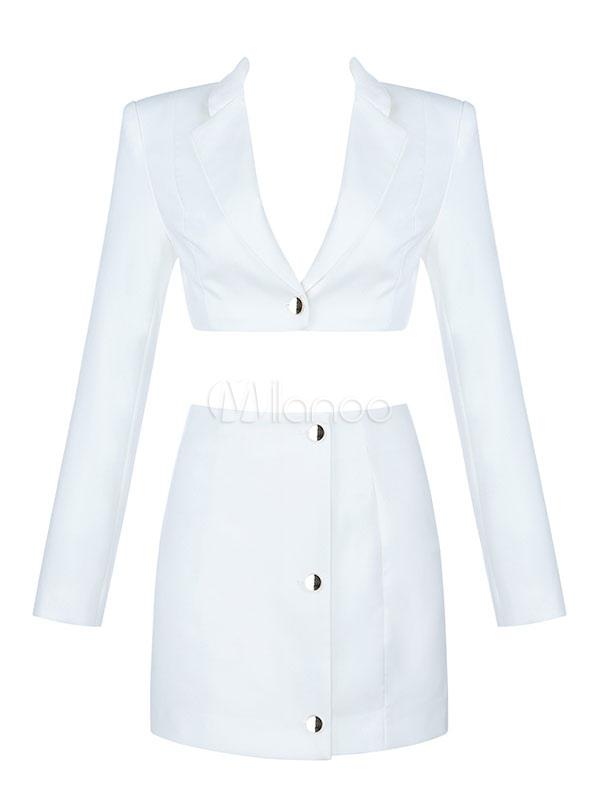 02eb27f513 ... Conjuntos de falda blanca Botones de cuello de cobertura de manga larga  Top corto con mini ...