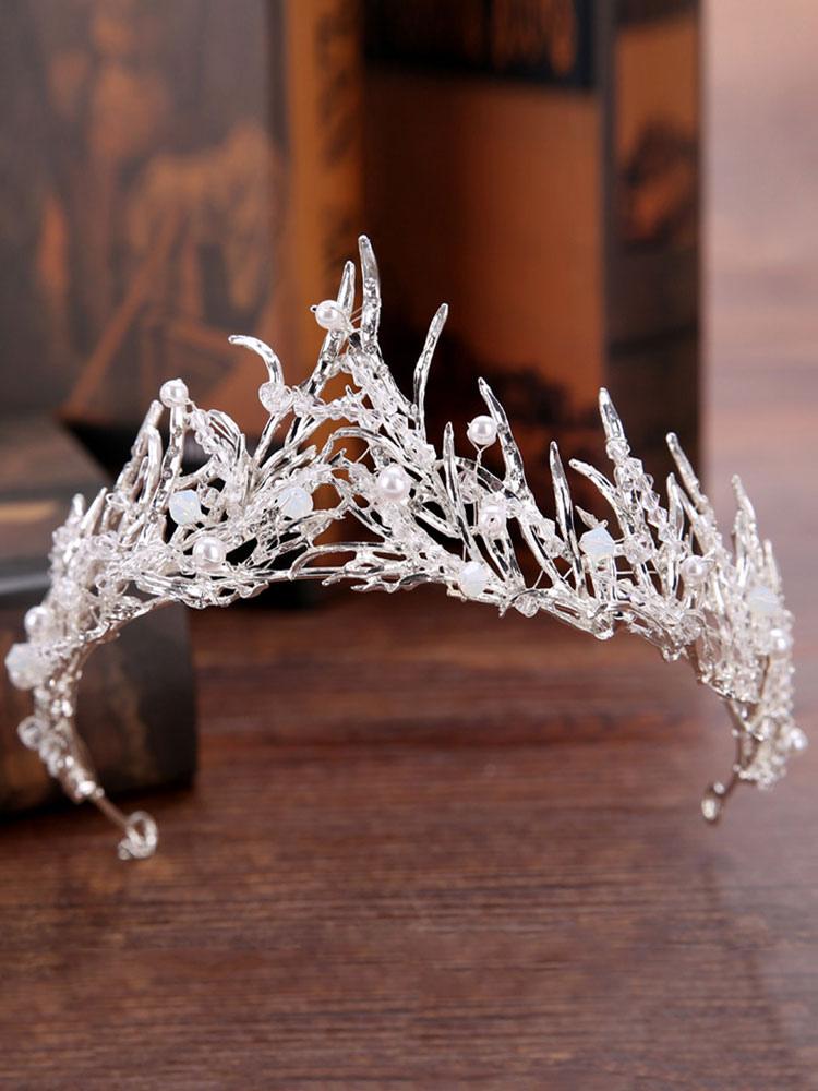 Qiuxiaoaa Cheveux couronnes pour Tresses-Brillant Faux Perle Princesse Couronne Bandeau Strass Mariage Tiara mari/ée Prom