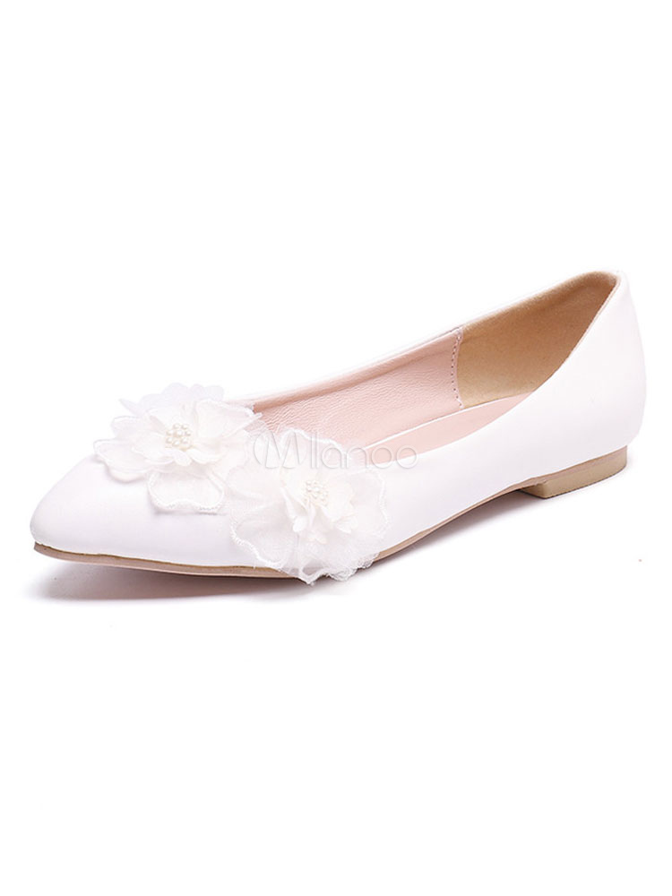 e1443b09bf69 White Bridesmaid Shoes Pointed Toe Flowers Detail Slip On Wedding Flats  Bridal Shoes-No.