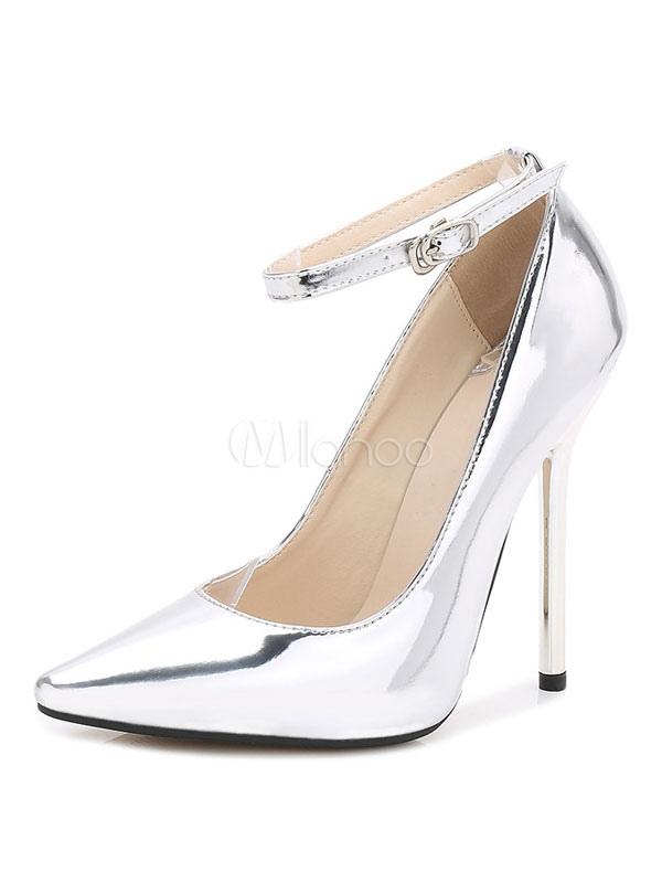 De Estrecha Plateados Mujer Punta Tacones Con Zapatos Vestir Para df6qd8