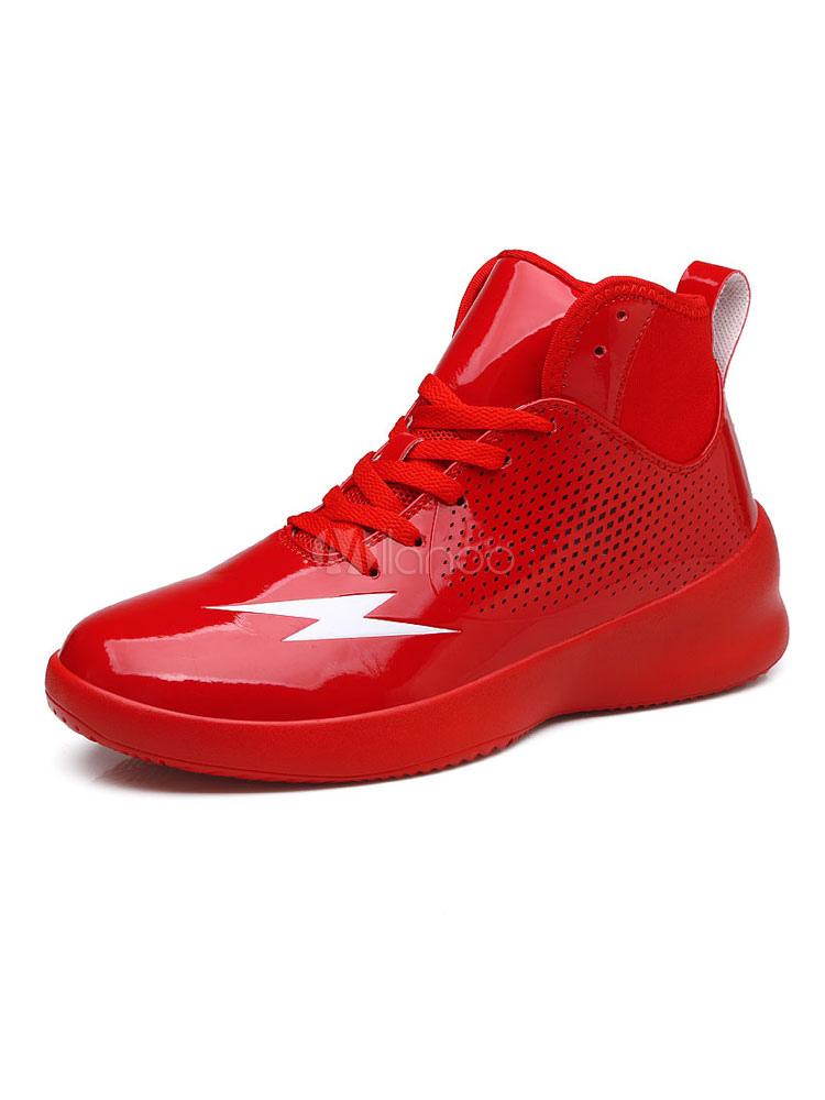 3f88a2dda أحذية كرة السلة الحمراء الرجال جولة تو تنفس أحذية رياضية - Milanoo.com