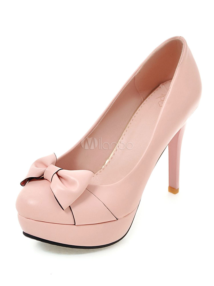 469210d19e50 Women High Heels Pink Round Toe Bow Stiletto Heel Slip On Pumps-No.1 ...