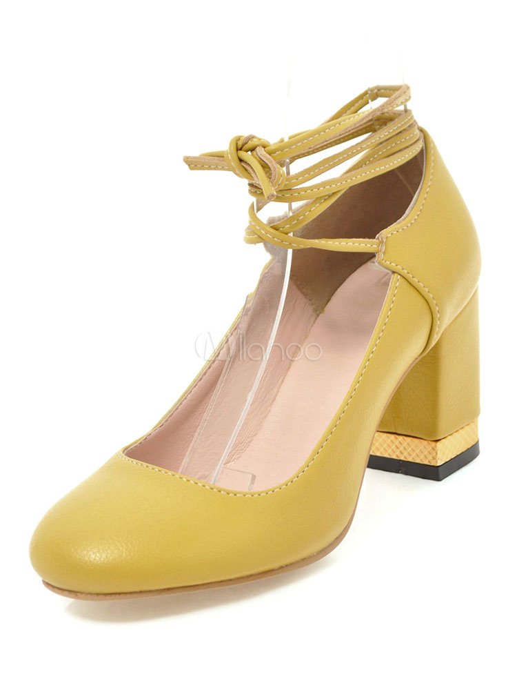 be0924af204 Women High Heels Round Toe Block Heels Yellow Lace Up Pumps