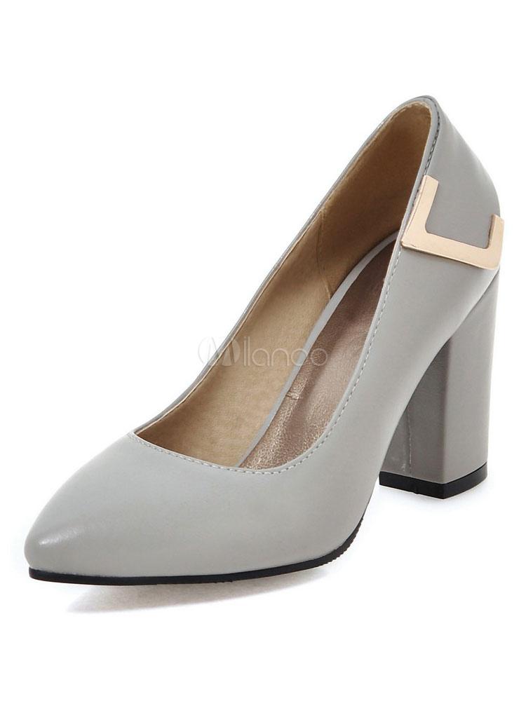 Zapatos de vestir de tacón alto con detalle de metal en los talones grises para  mujer ... c56ac5197450