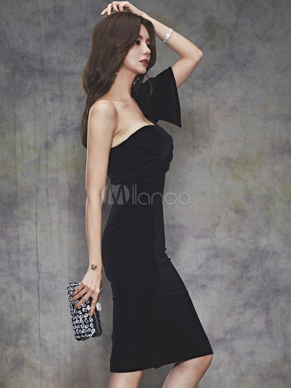a92c81bf5bd ... Сексуальное обтягивающее платье Вечернее платье с одним рукавом  Асимметричное велюровое платье с шейным вырезом-No ...