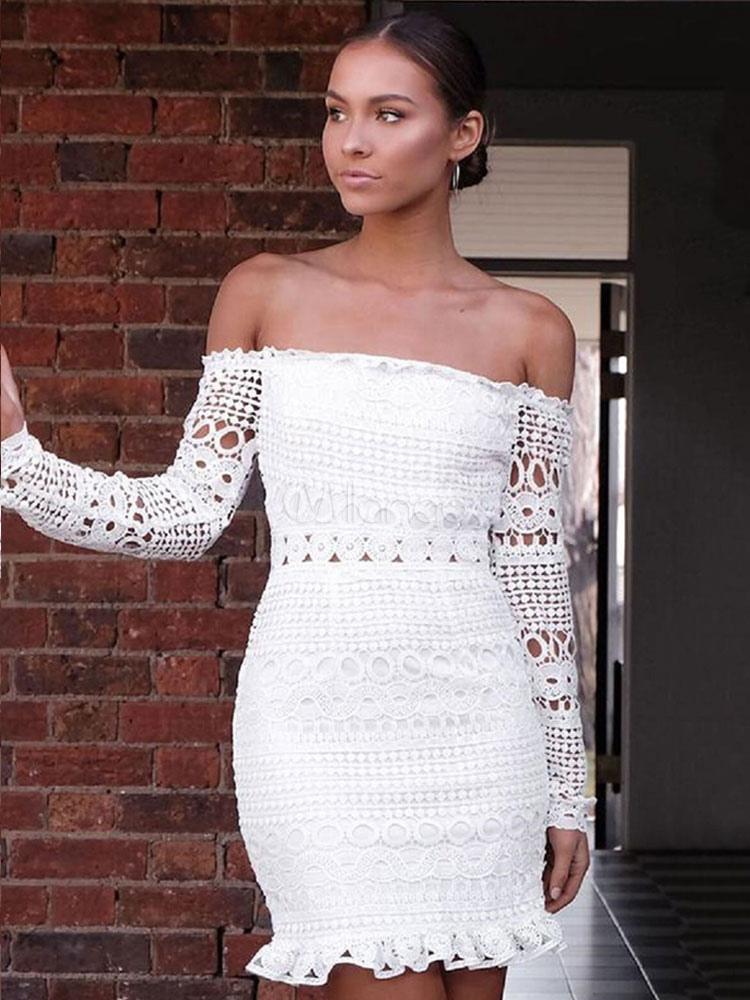 timeless design adba0 e253b Weißes Spitzenkleid Schulterfrei Langarm Ausschnitt Frauen Sexy,  figurbetontes Kleid