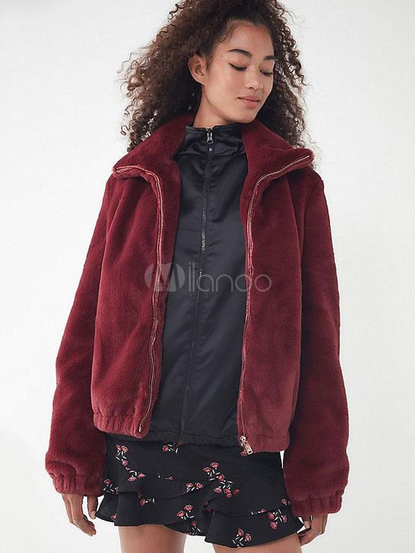 d95a7acccd9 Faux Fur Coat Women Turndown Collar Full Zip Burgundy Winter Coat