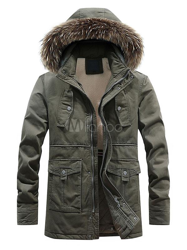 Cappotto da Uomo 2019 Cappotto di Pelliccia Cappuccio di Cotone Cappotto Imbottito Cappotto Imbottito di Cotone Cappotto Invernale Casual Cachi
