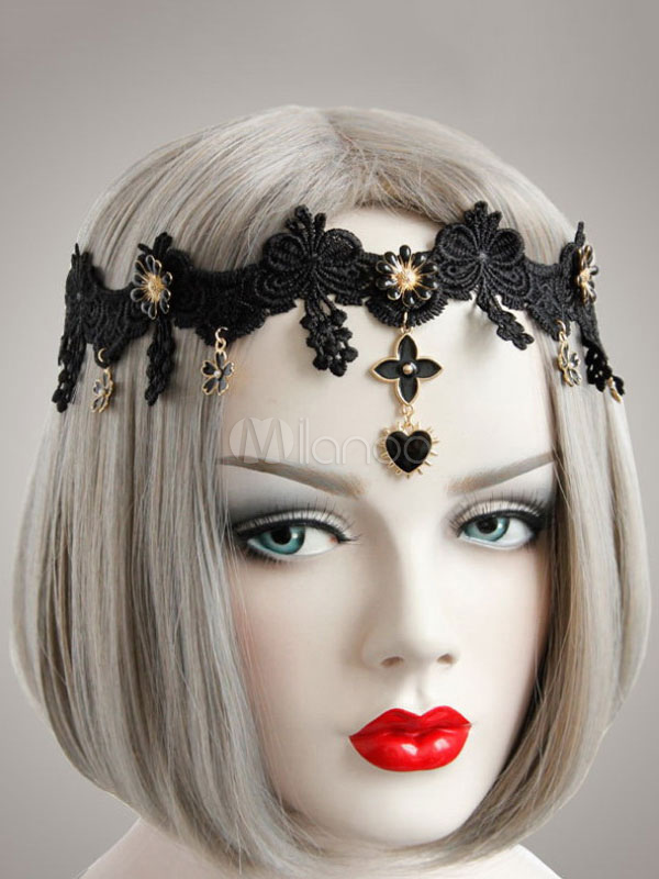 Minkissy bandeau gothique lolita accessoires de coiffure cosplay bandeau accessoires de lolita dentelle cerceau gothique pour femmes filles bleu fonc/é