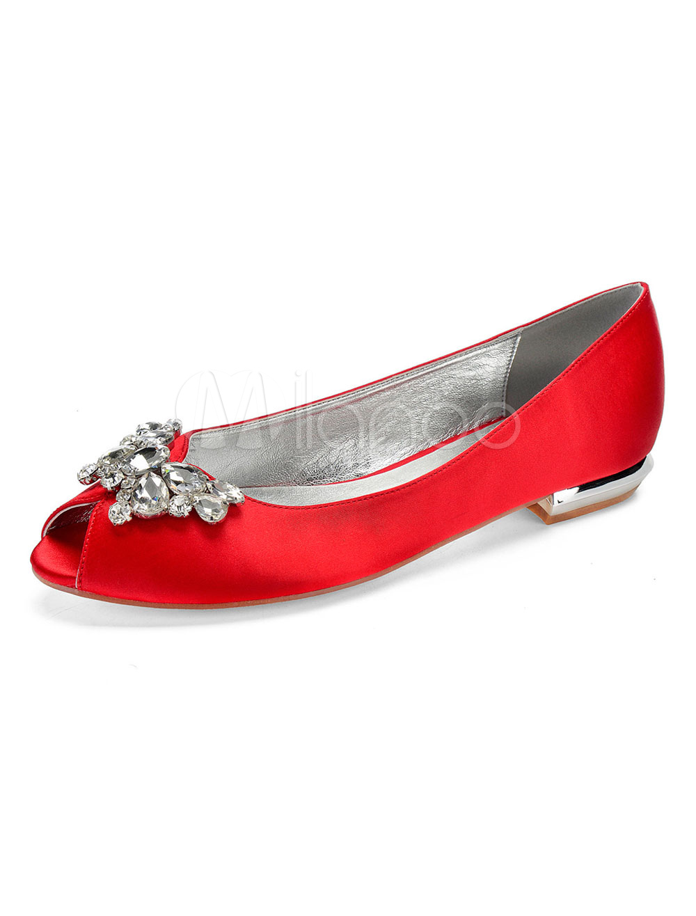 a3e7ec498c5 Red Wedding Flats Satin Peep Toe Rhinestones Butterfly Shape Slip On ...