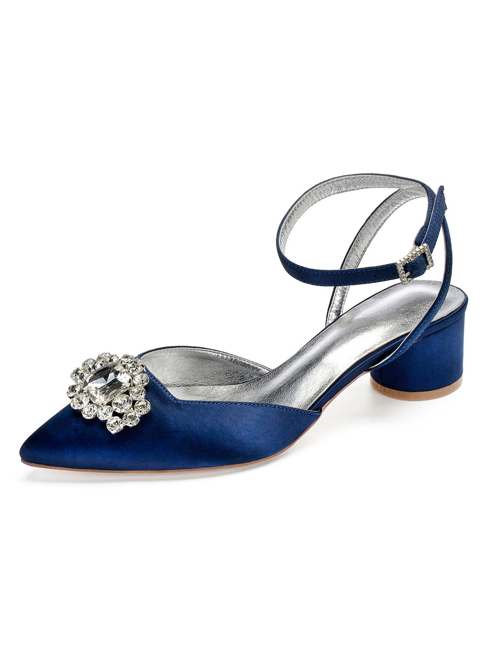 Dark Navy Mother Shoes Satin Pointed