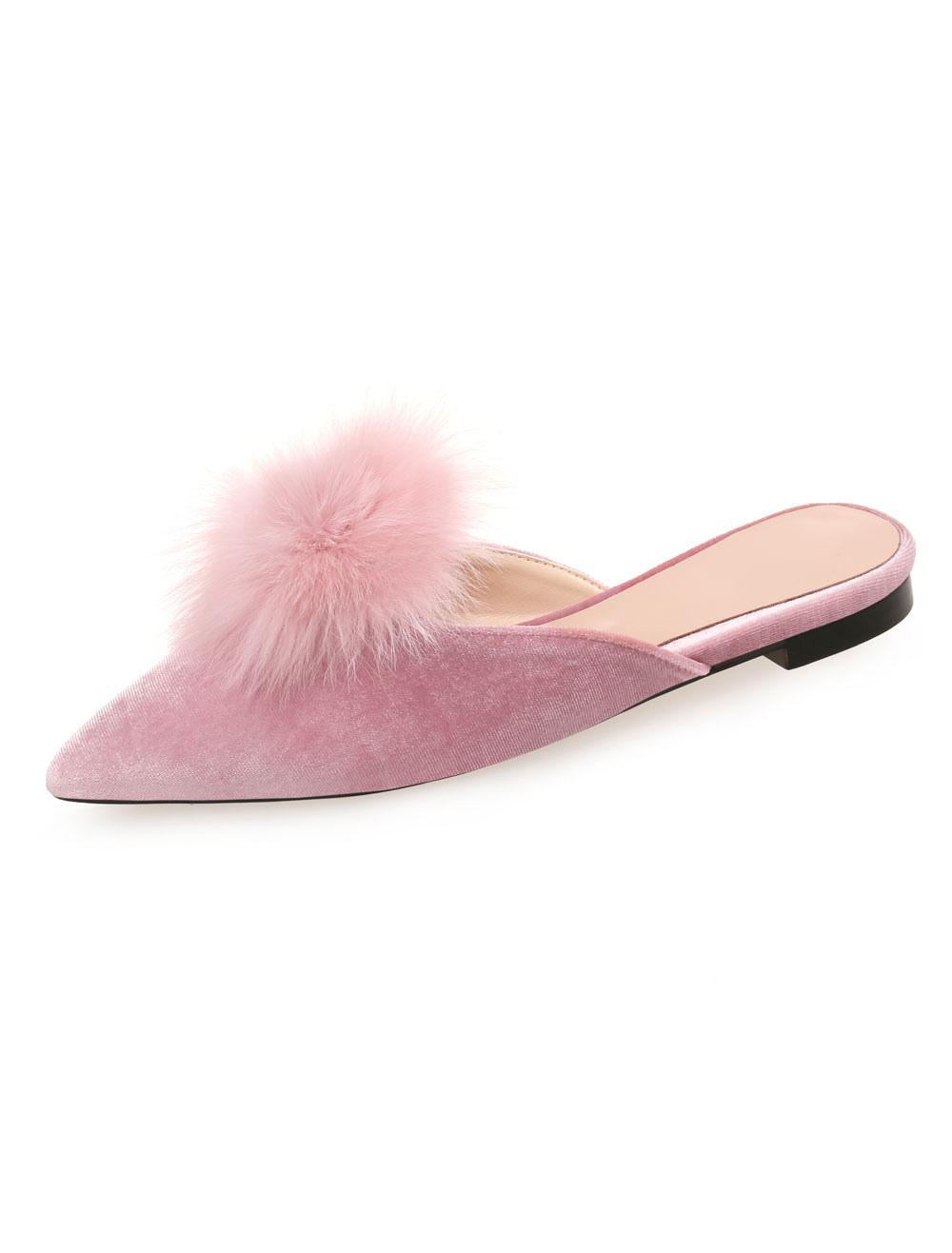 Women Flat Mules Pink Velvet Pointed