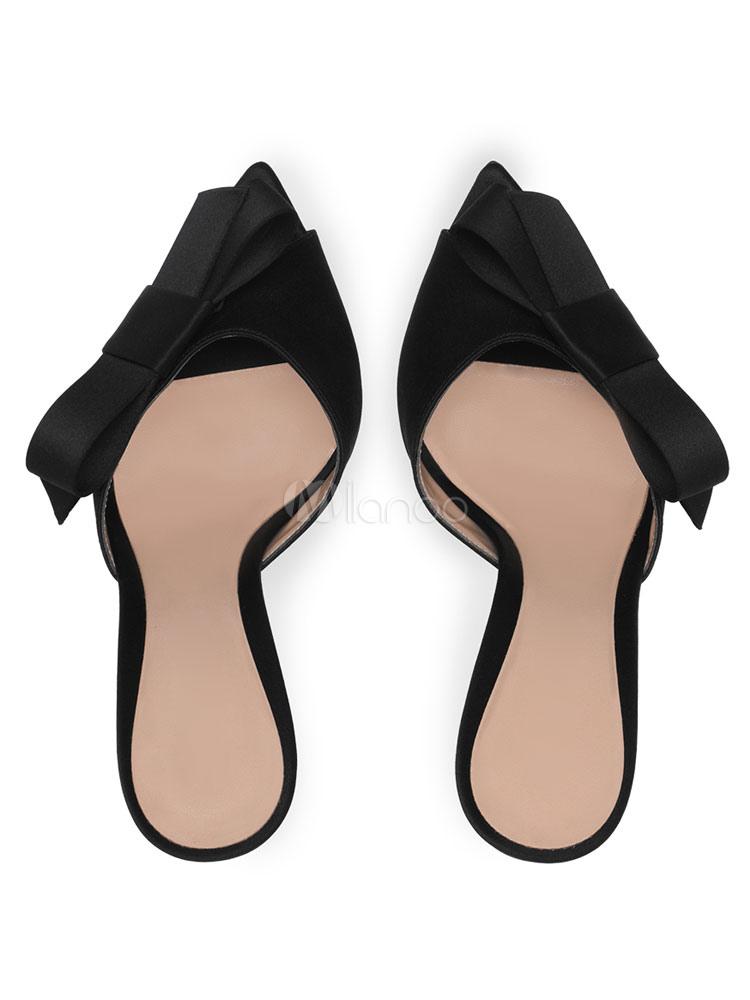 Chaussures Nu Satin Talon Dos Soirée 2019 De Haut Bout Ouvert Noeud rwvFOrqSxX