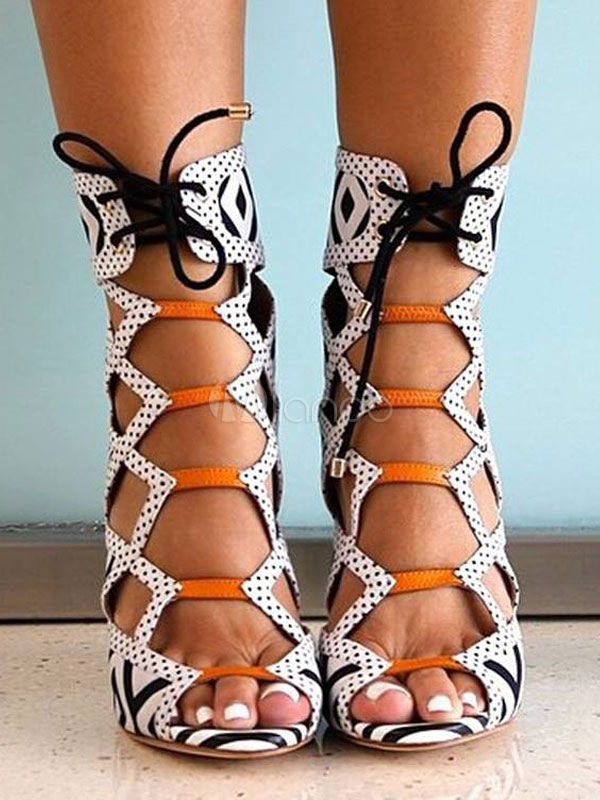 09b17ee34dc White Gladiator Sandals Women Peep Toe Cut Out Lace Up High Heel Sandals-No.