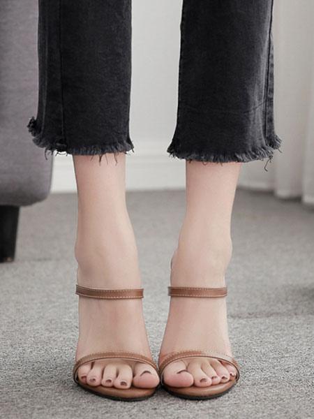 High Heel Sandaletten Hausschuhe Damen Open Toe