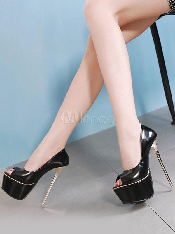 ... Черные сексуальные туфли на платформе с открытым носком туфли на  шпильках-No.2 ... b9a4d7a6df7ee