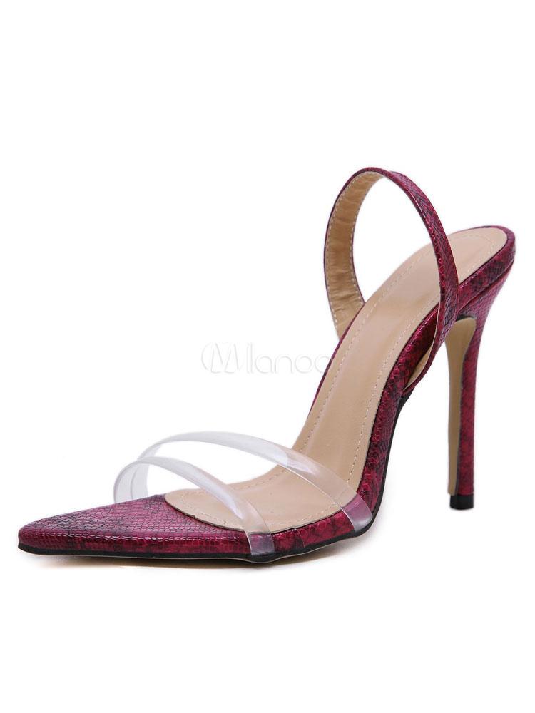 Stöckel Absatz High Open Heel Sandaletten Schuhe Sandale Burgund Toe 8wnOvmNy0