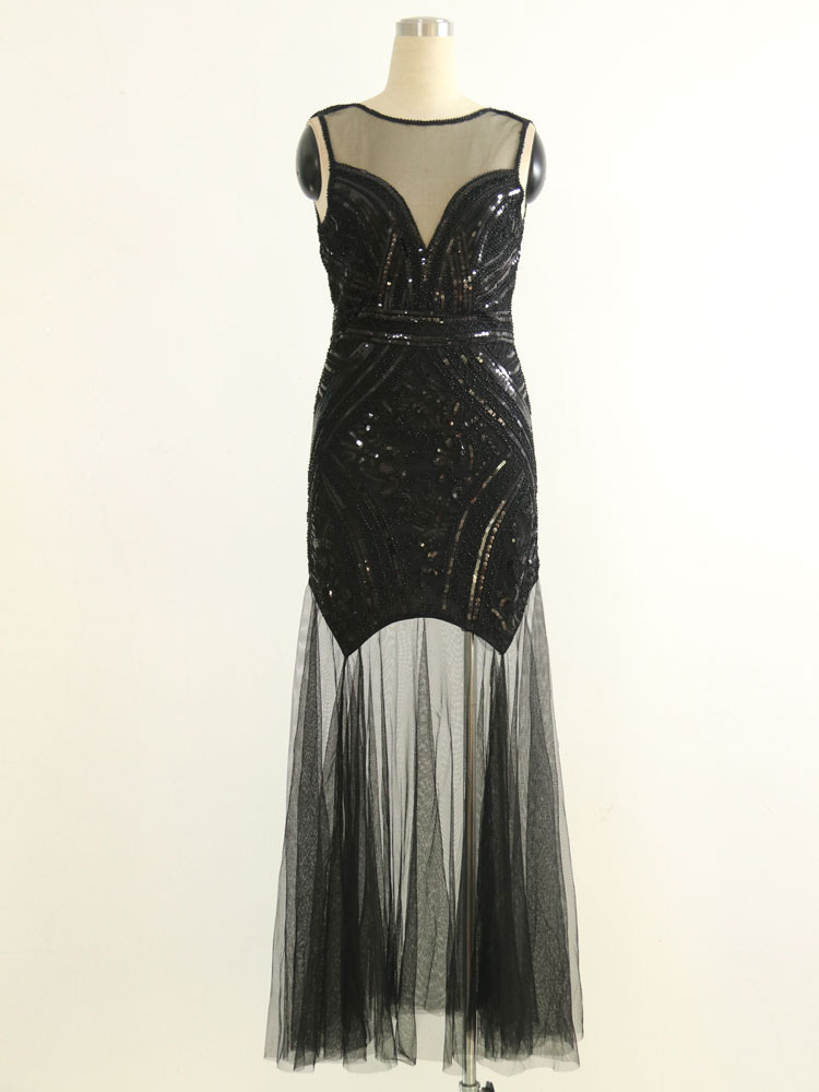 1920s Great Gatsby Costume Flapper Dress Black Halloween Vintage