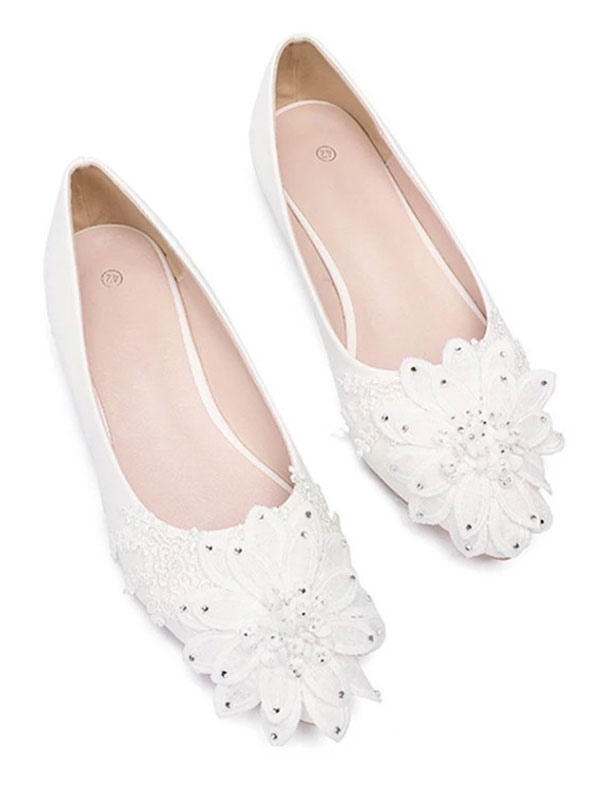 e1b7112c2df2 ... White Wedding Flats Pointed Toe Flowers Detail Bridesmaid Shoes-No.2 ...