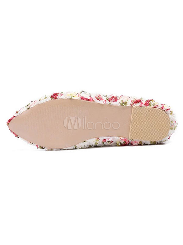 2700ad6ac2f1 White Wedding Flats Pointed Toe Flowers Detail Slip On Bridal Shoes  Bridesmaid Shoes-No.
