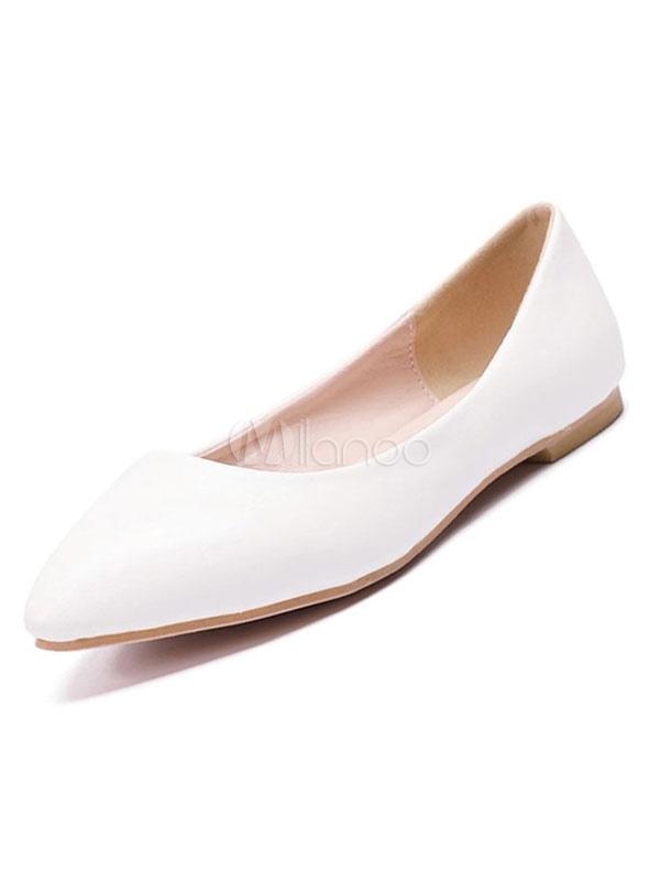 91be2f0553c6d3 Weiße Ballerinas Frauen Spitze Zehe Slip On Flache Pumps Brautjungfer  Schuhe-No.1 ...