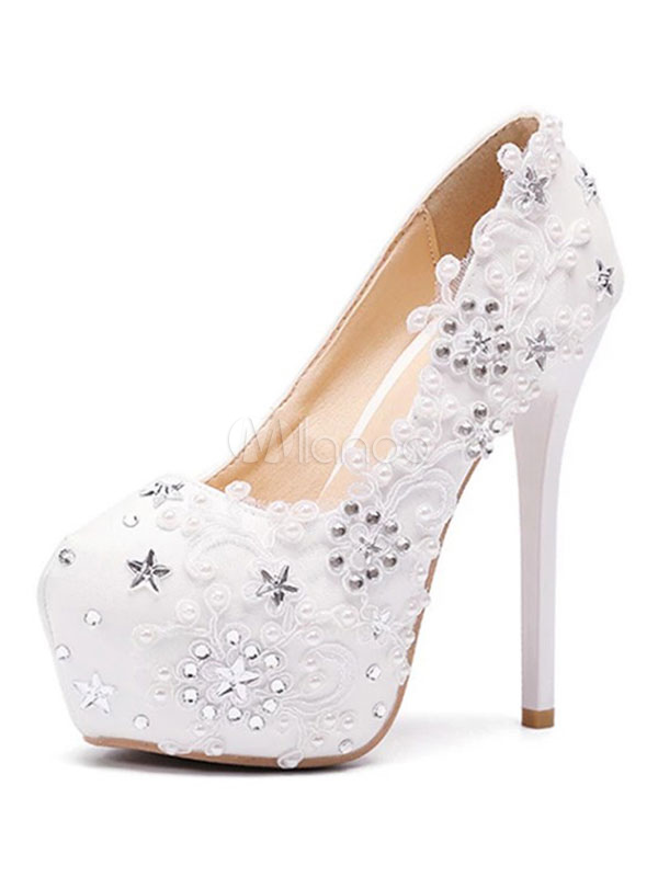White Wedding Shoes Platform Flowers Beaded High Heel Slip On Bridal Shoes-No.1  ...