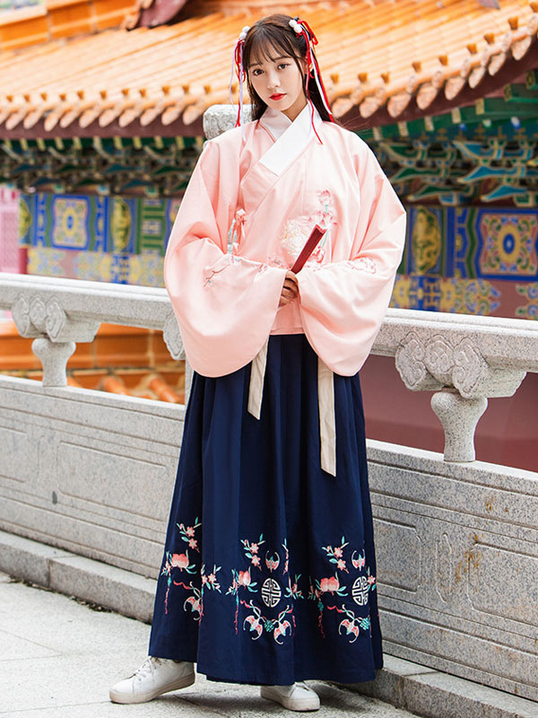 7cce3647c Ancient Chinese Costume Hanfu Traditional Floral Women Top And Skirt Outfit  Halloween-No.1 ...