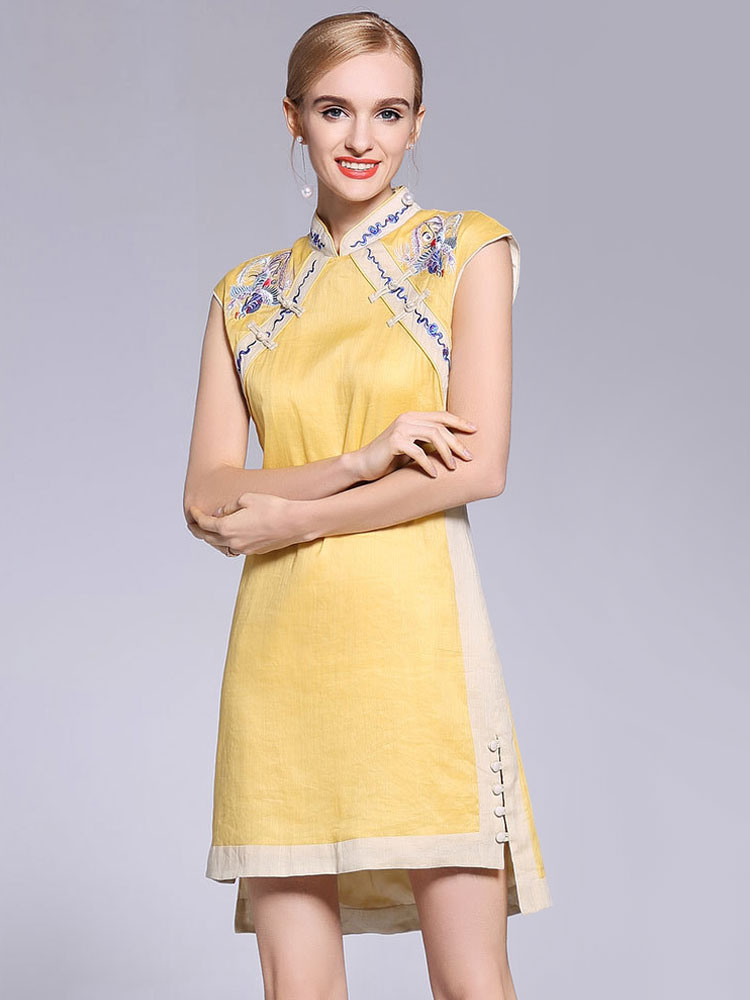 1a8d51975a3 Chinese Qipao Dresses Cheongsam Yellow Embroidered A Line Short Women  Halloween Costume-No.1 ...