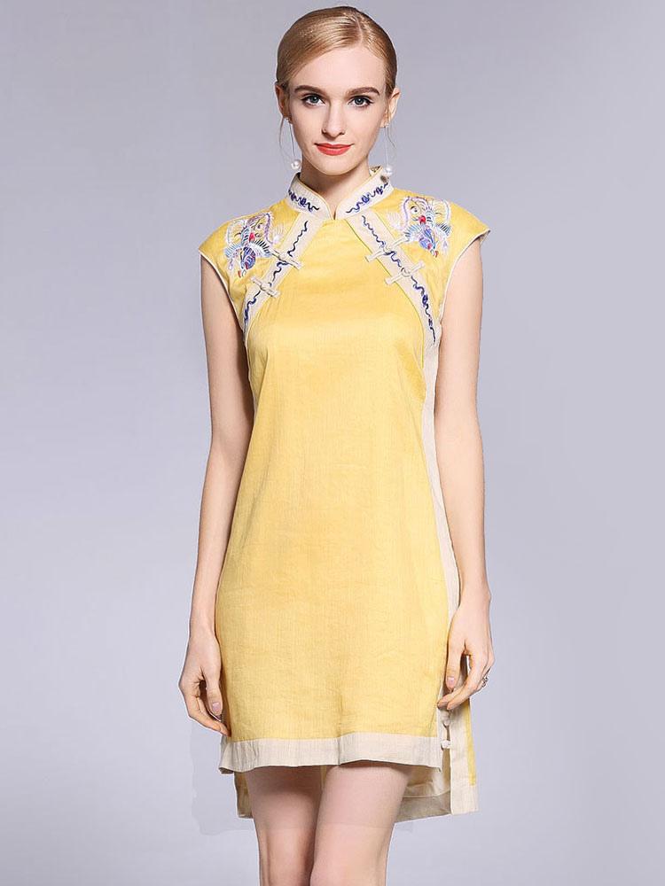 7c9bff8ca7e ... Chinese Qipao Dresses Cheongsam Yellow Embroidered A Line Short Women  Halloween Costume-No.2 ...