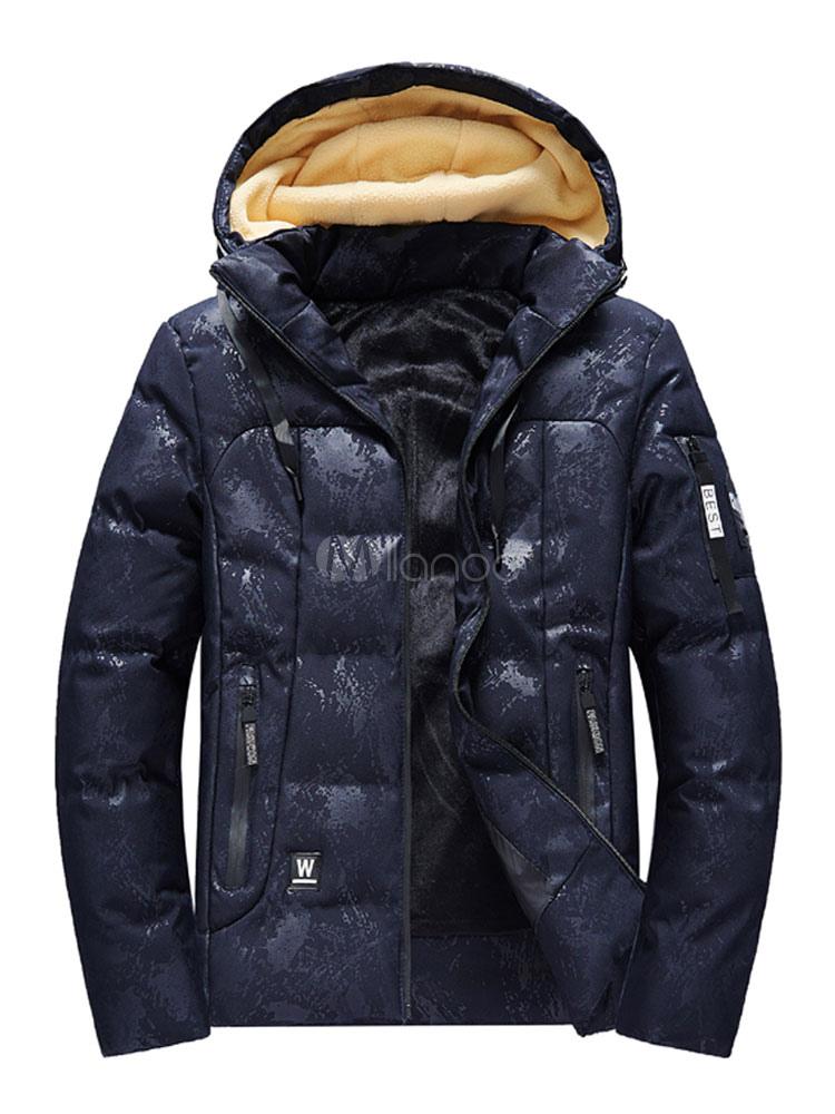 buy popular c8847 53054 Giacca imbottita da uomo Cappotto imbottito con cappuccio Piumino imbottito  in cotone Fodera lunga Giacca invernale da uomo