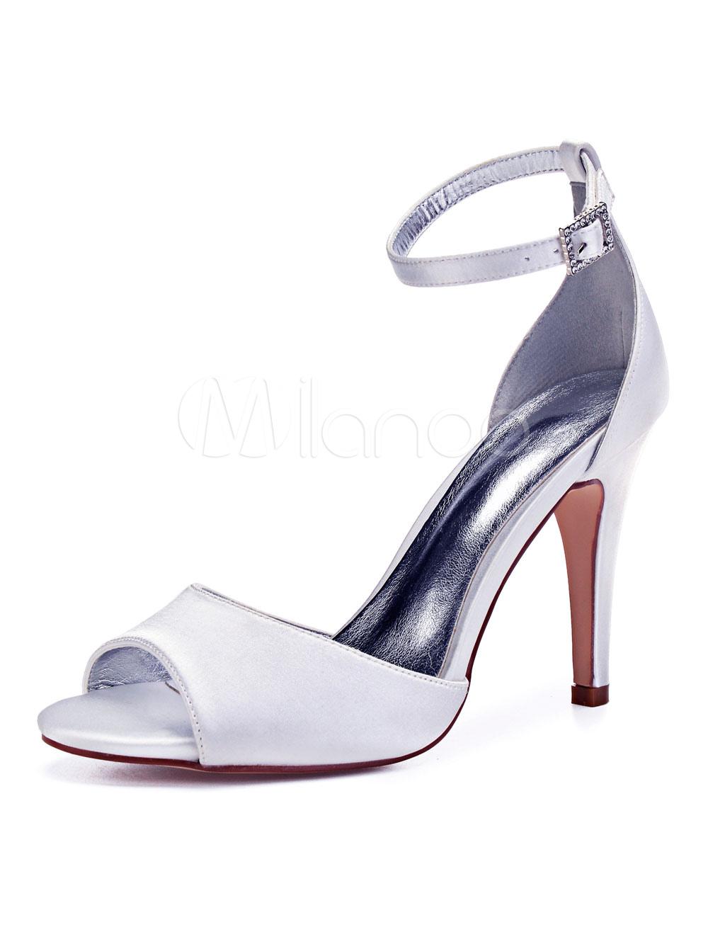 Mutter High Brautschuhe Satin Schuhe Toe Knöchelriemen Elfenbein Peep Hochzeit Heel P0Ow8nk