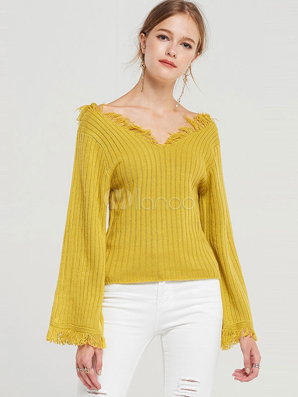 женский желтый свитер с длинным рукавом с V образным вырезом с