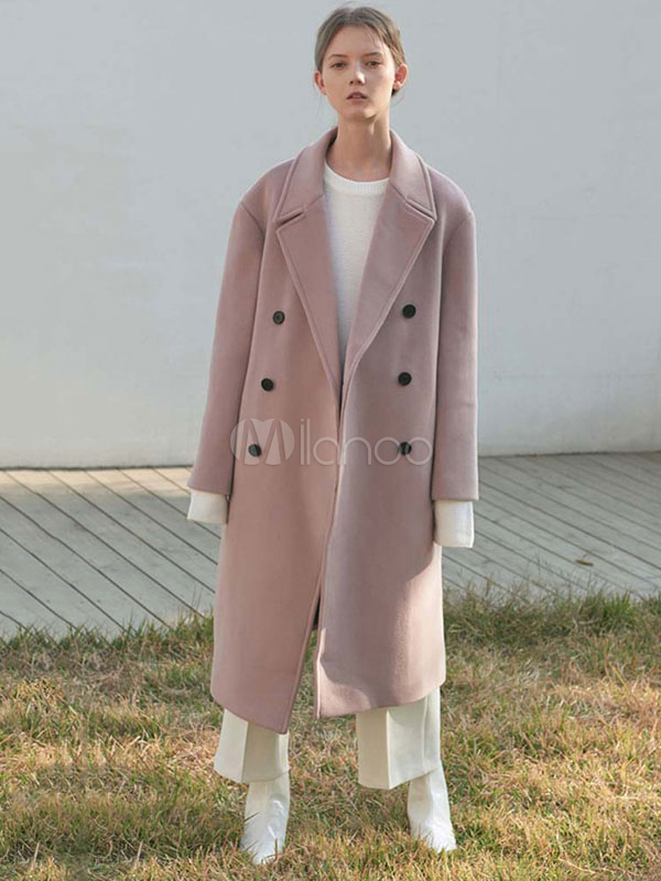 popular style complete range of articles lower price with Oversized Pink Coat Women Turndown Collar Pockets Winter Peacoat