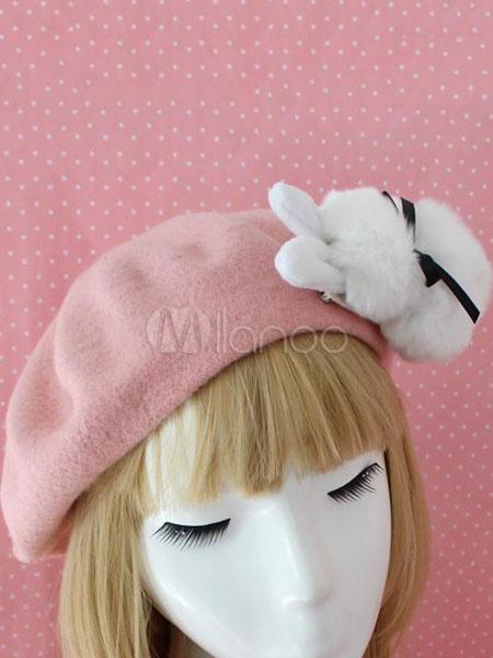ba6e304761a1f Sweet Lolita Beret Bow Faux Fur Bunny Wool Lolita Hat - Milanoo.com