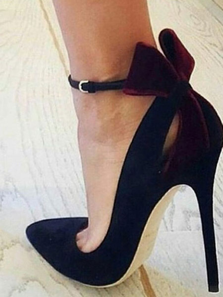 e60b0bb447ebb Black High Heels Suede Pointed Toe Cut Out Bow Ankle Strap Pumps For  Women-No