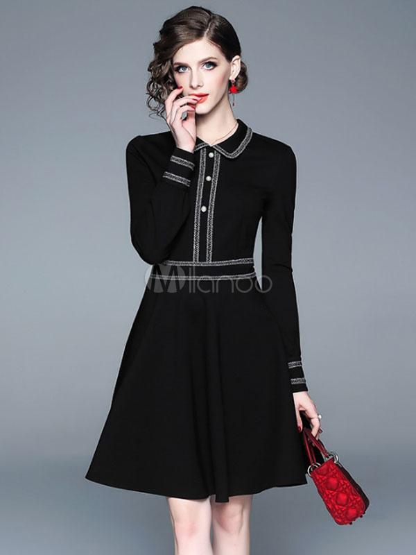 8587d93c0b20 Маленькое черное платье Платье с длинным рукавом с отложным воротником  Свободное ...